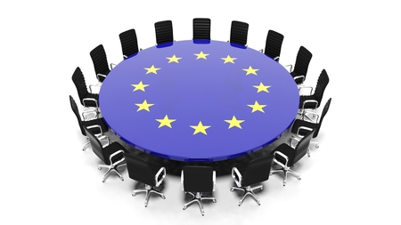 Round meeting room table with European Unions flag isolated on white