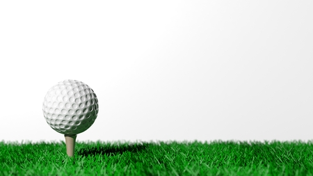 Golf ball on green turf isolated on white background