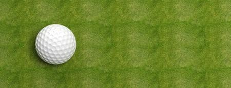 Golfbal op groen gras banner