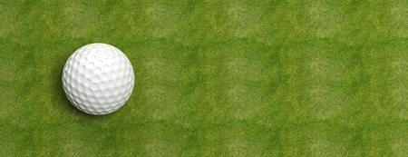 Golf ball on green turf banner