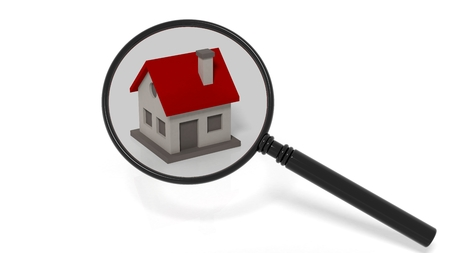 magnifying glass icon: House model under a magnifier isolated on white background