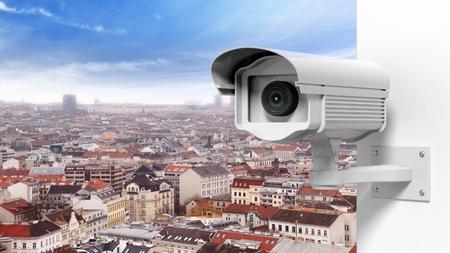 big brother spy: C�mara de vigilancia de seguridad de la ciudad Foto de archivo