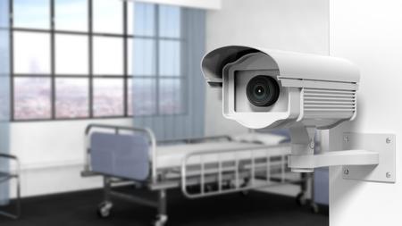 hospitales: C�mara de vigilancia de seguridad en la pared en una habitaci�n de hospital
