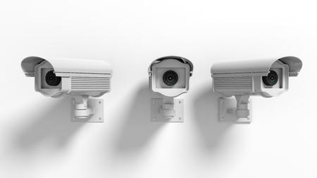 guardia de seguridad: Tres cámaras de vigilancia de seguridad aisladas sobre fondo blanco Foto de archivo
