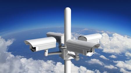 big brother spy: Security surveillance camera with blue sky background