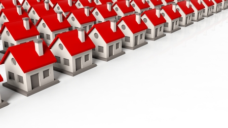 population growth: House models in rows isolated on white background