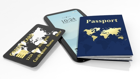 boarders: Passport, credit card and tabletsmartphone isolated on white background Stock Photo