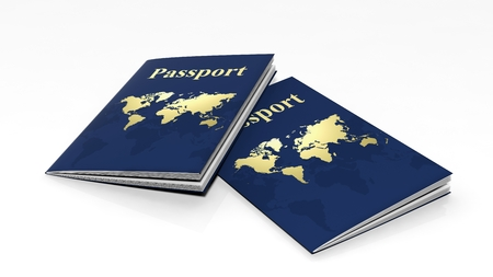 boarders: Two passports isolated on white background