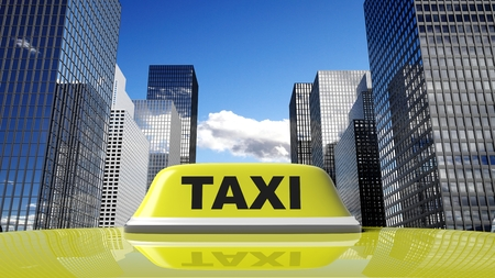 yellow roof: Yellow taxi car roof sign with city background Stock Photo