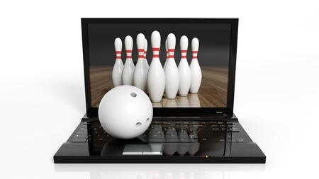 laptop isolated: Bowling ball and pins on laptop isolated on white background