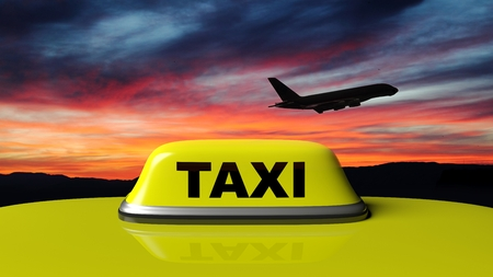 yellow roof: Yellow taxi car roof sign with sunset sky and airplane black silhouette Stock Photo