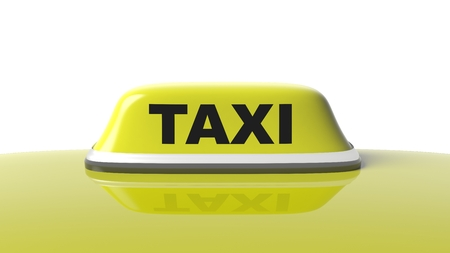 yellow roof: Yellow taxi car roof with sign isolated on white background