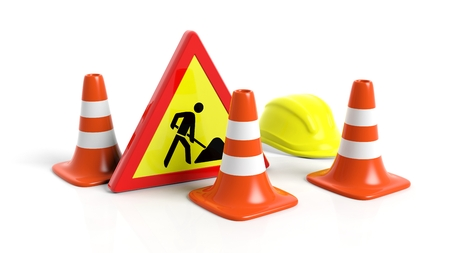 traffic   cones: Traffic cones,helmet and warning sign isolated on white background