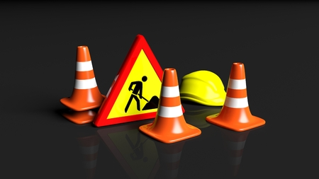 traffic   cones: Traffic cones,helmet and warning sign isolated on black background Stock Photo