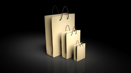 friendly: Paper shopping bags isolated on black background Stock Photo