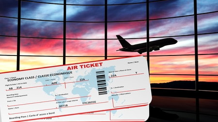 Air tickets with sunset and airplane silhouette as background photo