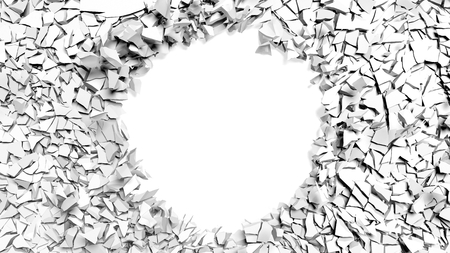 broken wall: Shattered wall with a hole in the middle and copy-space Stock Photo