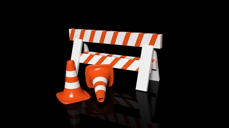 traffic   cones: Orange traffic cones and barrier isolated on black background