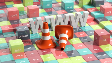 domain: WWW letters, traffic cones and cubes with domain extensions