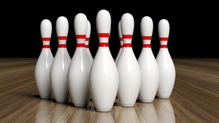 wooden floor: Bowling pins set on wooden floor Stock Photo