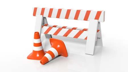 safety at work: Orange traffic cones and barrier isolated on white background