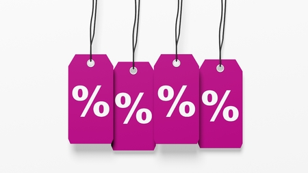 percentage sign: Pink hanging sales tags with percentage sign isolated on white background Stock Photo