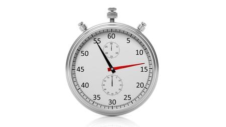 chronometer: Silver clock chronometer, isolated on white background