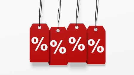 percentage sign: Red hanging sales tags with percentage sign isolated on white background