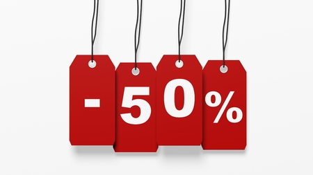 fifty: Red hanging sales tags with fifty percent discount isolated on white background