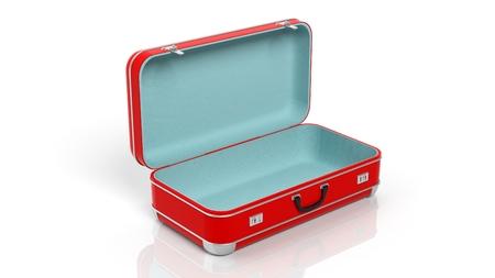 suitcase: Opened red travel suitcase isolated on white background
