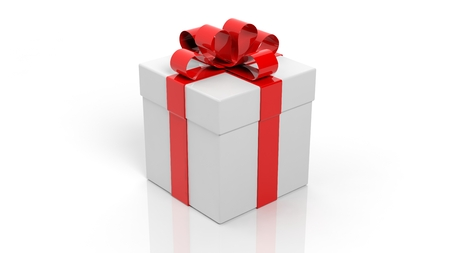 closed box: Gift box with red ribbon isolated on white background Stock Photo