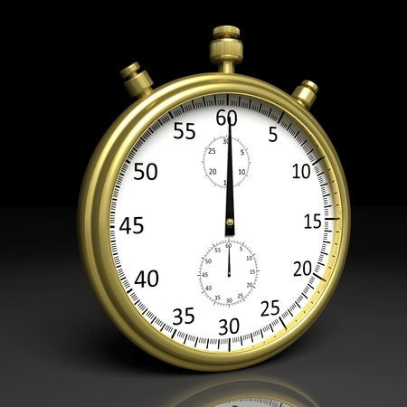 chronometer: Golden chronometer, isolated on black background