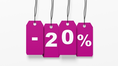 twenty: Pink hanging sales tags with twenty percent discount isolated on white background