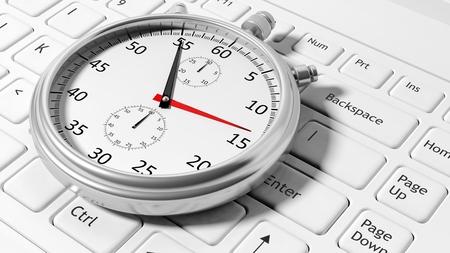 white laptop: Argento cronometro tastiera del computer portatile bianco