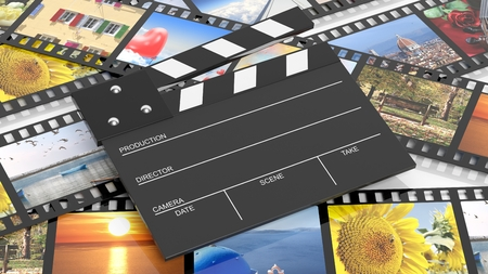 entertainment equipment: Clapperboard on filmstrips with pictures as background