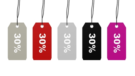 thirty: Colorful hanging sales tags with thirty percent discount isolated on white background