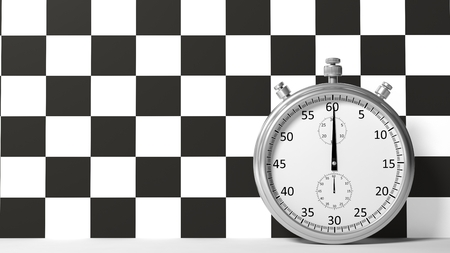 timescale: Stopwatch with checkered racing flag Stock Photo