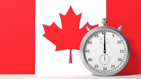 canadian football: Flag of Canada with chronometer