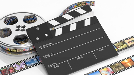 photography icon: Clapperboard and film reel with pictures isolated on white background