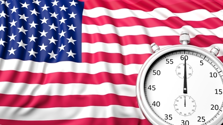 chronometer: Flag of USA with chronometer Stock Photo