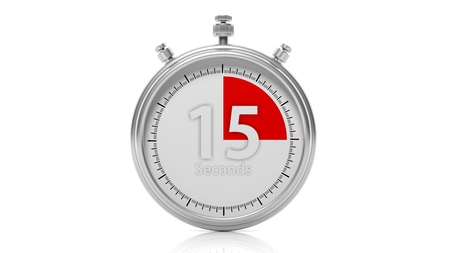 seconds: Silver chronometer set on 15 seconds, isolated on white
