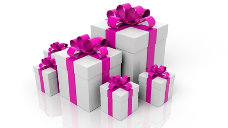 pink ribbons: Gift boxes with pink ribbons in various sizes isolated on white background