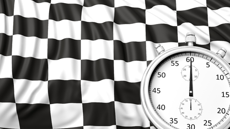 timescale: Stopwatch with waving checkered racing flag Stock Photo