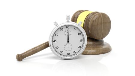 chronometer: Silver chronometer with wooden gavel, isolated on white Stock Photo
