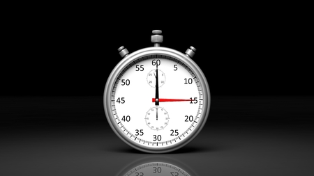 Silver clock chronometer, isolated on black background Stock Photo