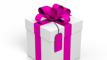 gift ribbon: Gift box with pink ribbon and blank tag isolated on white Stock Photo