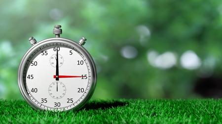 chronometer: Silver chronometer on green grass