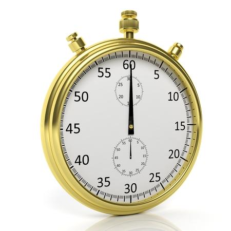 chronometer: Golden chronometer, isolated on white background