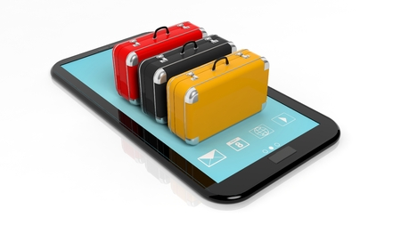 tecnology: Colorful suitcases on tablet screen, isolated on white