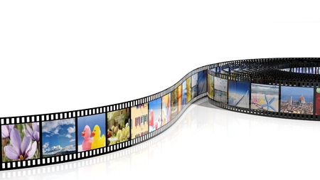 Filmstrip with pictures isolated on white background